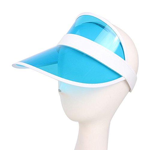 en Jungen Outdoor Kunststoff Transparent Sonnenblende Klar Golf Visier Hut UV Schutz Cap Candy, blau ()