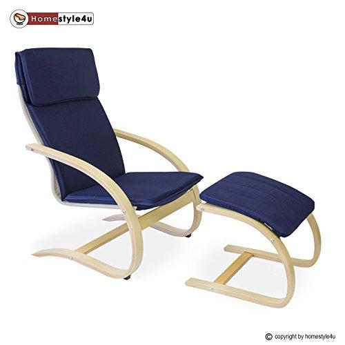 Homestyle4u Schwingsessel Freischwinger Sessel mit Hocker in blau natur Relaxsessel Schaukelstuhl Schwingstuhl