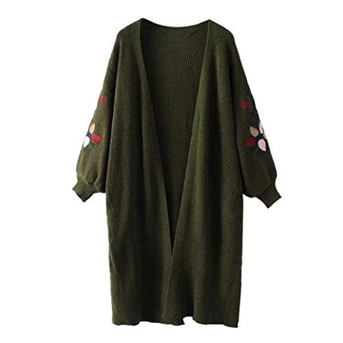 Pullover damen Sonnena Strickjacke Cardigan Langarmshirt Oversized Lose Outwear Tops Mantel (Free Size, Grün) (Kaschmir Like Strickjacke)