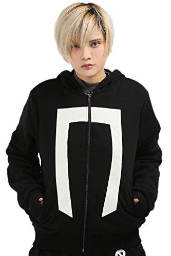 Herren Jacke Cosplay Kostüm Kapuzen pullover Hoodie Schwarz Baumwolle Zip Sweatshirt Top Kleidung Mantel (Ghost Rider Kind Kostüm)