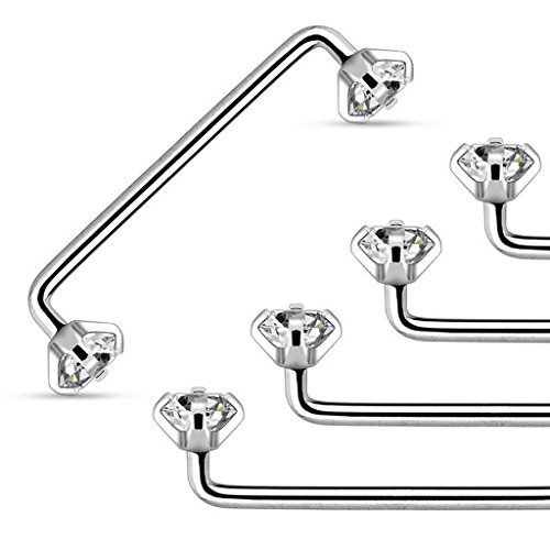 staple-surface-barbell-with-internally-threaded-prong-set-clear-gem-316l-surgical-steel-14-gauge-siz