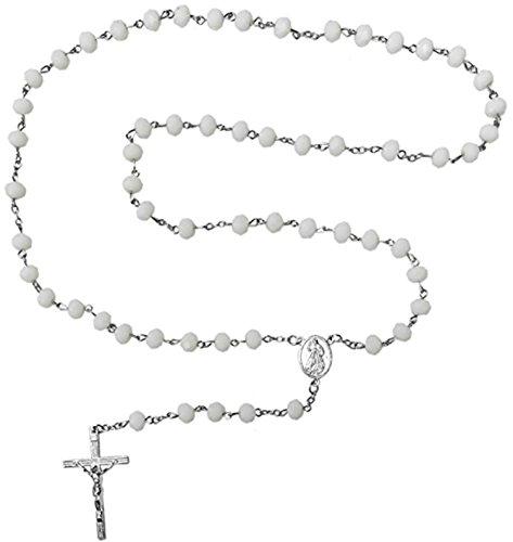 Kaltner Präsente Geschenkidee - Rosenkranz für Damen und Herren mit Kreuz Anhänger Marienbild und Glas Perlen Farbe Weiß (Länge 74 cm)