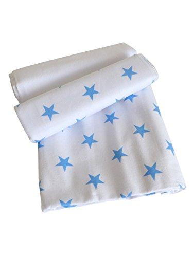 3er Pack Moltontücher ~ Sterne blau ~ Wickelauflage Unterlage Spucktuch Tücher