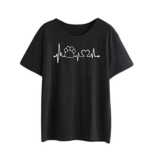 Preisvergleich Produktbild feiXIANG Mode Frauen Damen Kurze ärmel Locker Baumwoll t - Shirt. (XXL,  Schwarz 1)