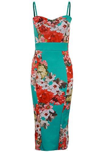 Fantasia - Damenkleid Verstellbare Spaghettiträger Blumenmuster Enganliegendes Langes Midi Damenkleid Druck 4
