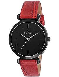SWISSTONE Analogue Black Dial Women's Watch (Ck312-Blk-Red)