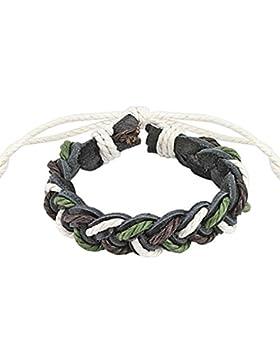Paula & Fritz® Armband Leder Schnur Dreifarbig geflochten grün schwarz weiß SL...