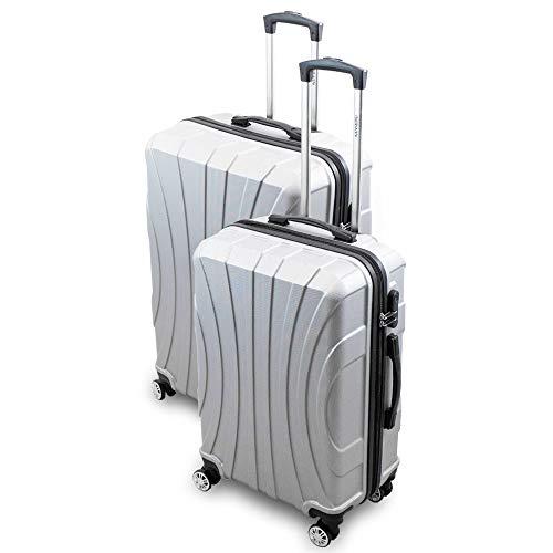 BERWIN Kofferset L + XL 2-teilig Reisekoffer Trolley Hartschalenkoffer ABS Teleskopgriff Modell Strike (Silber)