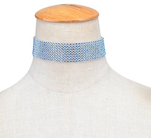 Ziwater Strass Cristal Choker Chaîne Bling Baroque Collier Vintage Rétro Femme Ras du Cou Bijoux Fantaisie Tendance Bleu (1-3.8cm Large Au Choix ) 2.5CM bleu