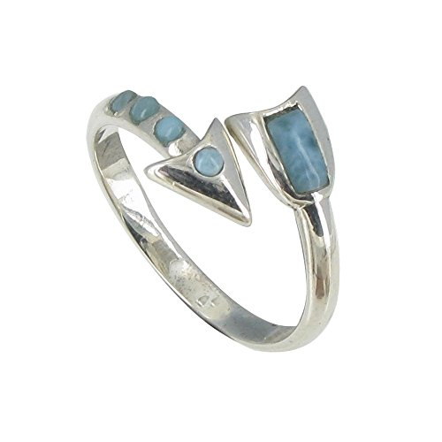 Les Poulettes Jewels - Sterling Silver Ring Arrow of Larimar