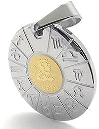 Collar pendiente de constelacion - SODIAL(R) Pendiente de Leo de signo zodiaco de acero inoxidable de joyeria con 50 cm collar para hombres mujeres, Oro Plata