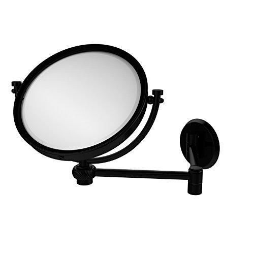 Allied Messing 8in. Wand montiert ausziehbar Make-up Spiegel 4x Vergrößerung mit Twist Accent matte black (Messing Twist)