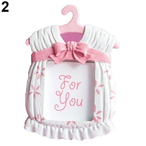 ahmen Kleid Form Bilderrahmen Baby Kinder Geburtstag Kunstharz 7cm*9cm Pink ()
