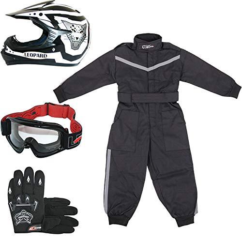 Leopard LEO-X17 Schwarz Kinder Motocrosshelme Motorradhelm (S 49-50cm)+ Handschuhe (S 5cm) + Brille + Kinder Motocross Anzug - XS (3-4 Jahre alt)