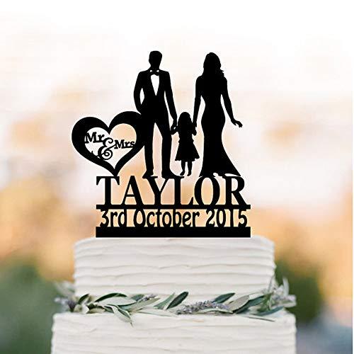 Jiaxingo Braut und Bräutigam Acryl lustige Hochzeitstorte stehen schwarz Hochzeit Geburtstag küssen Cake Toppers Kuchen Dekorationen Cake Topper mit kleinen Mädchen