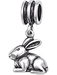 So Chic Joyas - Abalorio Charm conejo de conejito animal - Compatible con Pandora, Trollbeads, Chamilia, Biagi - Plata 925
