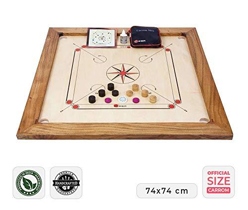 Ubergames Professionelles Carrom Brettspiele 12 kg - Top ECO-Hartholz Qualität - Komplettes Set mit Offiziellen Scheiben und Pulver
