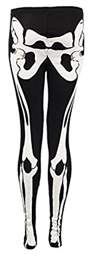 Dame-Mädchen-Halloween-Skelett, figurbetontes Kleid Leggings Strampler Plus Size EUR 36-50, Leggings - Schwarz, M/L (EUR (Plus Size Skelett Kleid)