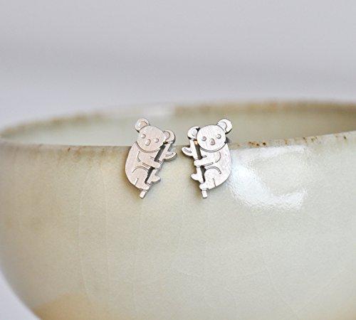 Aoloshow Boucles d'oreilles ou pendentif pour collier en acier inoxydable Amour de la mode Koala Earrings - Silver