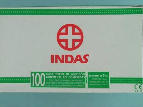 GASA ESTERIL INDAS CAJA 100 UNID SOBRE 5 U