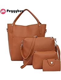New 4pcs Shoulder Bag In Women's Totes Fashion Women PU Leather Rivet Handbag Crossbody Clutch Bag Bucket Handbags...
