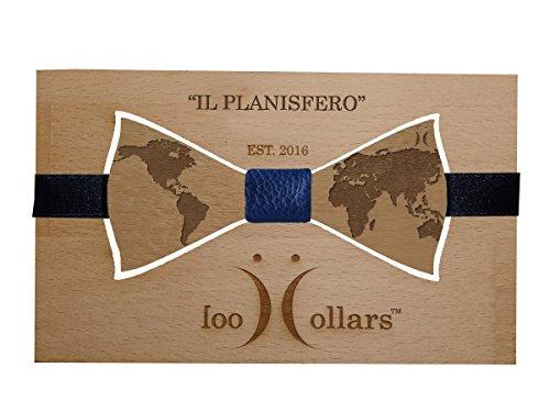Papillon in legno di faggio con fiocchetto in pelle personalizzabile Cool Collars. Mod. Il Planisfero (unica, blu)