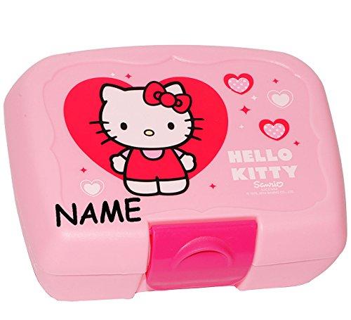 alles-meine.de GmbH Brotdose / Lunchbox -  Hello Kitty  - incl. Name - Brotbüchse - Küche Essen für Mädchen - Vesperdose / Katze / Kätzchen - Herzen Miezekatze - rosa - Kinder