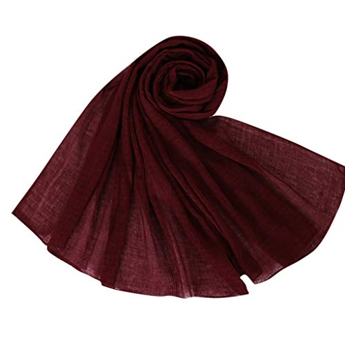Lazzboy Frauen ethnischen Abaya islamischen muslimischen Nahen Osten solide Hijab Wrap Schal Kopfbedeckungen (L)