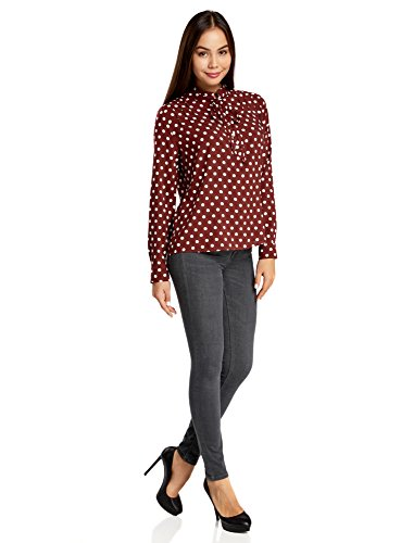 oodji Ultra Damen Viskose-Bluse mit Bindebändern Am Kragen Rot (4912D)