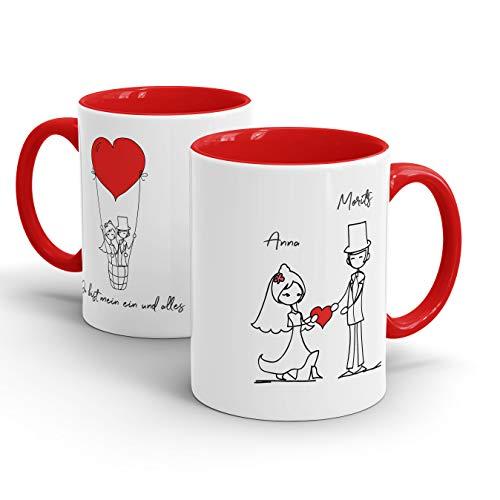 True Statements Tasse Du bist Mein EIN und Alles - Personalisierte Kaffeetasse/Teetasse mit Wunsch-Namen des Braut-Paares als Geschenk Hochzeit, Geburtstag, Weihnachten