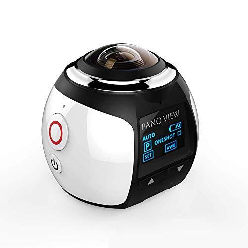 TXYFYP Wireless 360 Gradi Panoramica Fotocamera 3D VR Azione Sport Fotocamera Wi-Fi 16MP 4K HD 30fps Impermeabile Mini DV Lettore - Bianco, 5x5x5.5cm