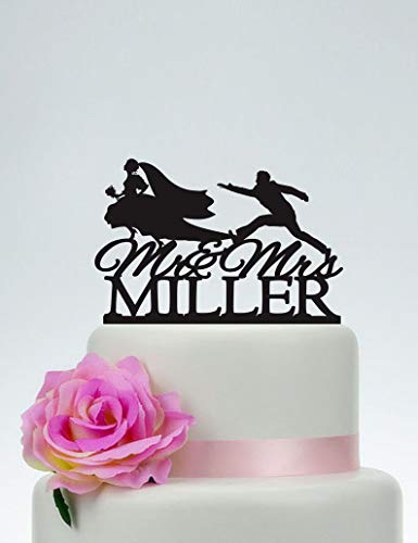 Acrylic Cake Topper Bride And Groom Running Cake Topper Runaway Bride Funny Wedding Cake Toppercake Topper With Last Namecustom Mr And Mrs Cake Topper
