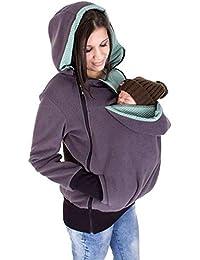 Xuanlan Mujeres Embarazadas Sudadera con capucha de canguro de maternidad Casual Sudadera Suéter con capucha de manga larga con traje de bebé y 2 calientes Hoodies