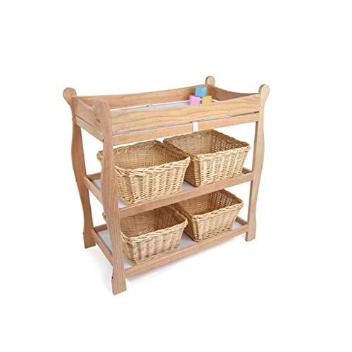 Ali@ Table à langer évolutive en chêne, bébé de 0 à 3 ans Prendre une baignoire Table à massage en relief, trois couches peut être déplacé Cadre en coin, charge 60 kg (Couleur : Original wood)