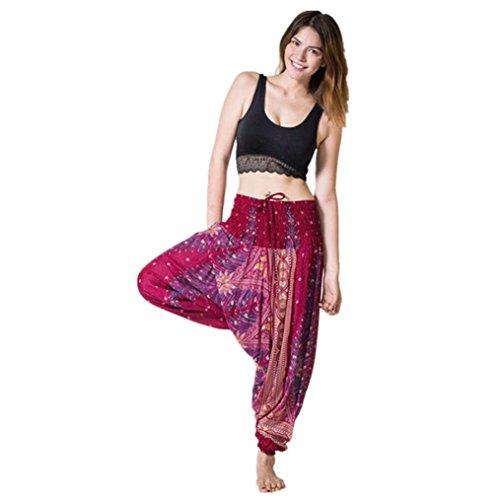 Yoga Hose Damen ❤️• •❤️ LUCKYCAT 2018 Neu Fashion Leggings Männer und Frauen Große Schritthose Siamesische Hosen Yogahosen (Weinrot, Freie Größe)