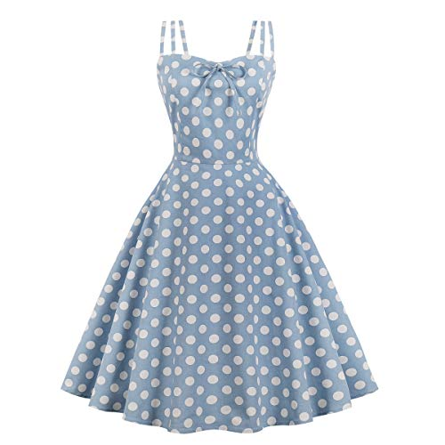 be0f993a346c93 Wellwits Women's Cami Strap Polka Dots Tea Party 1950s Vintage Dress Jean  Blue L