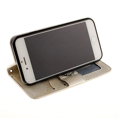 "inShang iPhone 7 Coque 4.7"" Housse de Protection Etui pour Apple iPhone7 4.7 Inch,Coque Avec support fonction, Pochette super- utile, Wallet design with card slot Datura flowers white"