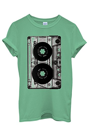 Cassette Retro Vintage 90's Cool Funny Men Women Damen Herren Unisex Top T Shirt Grün