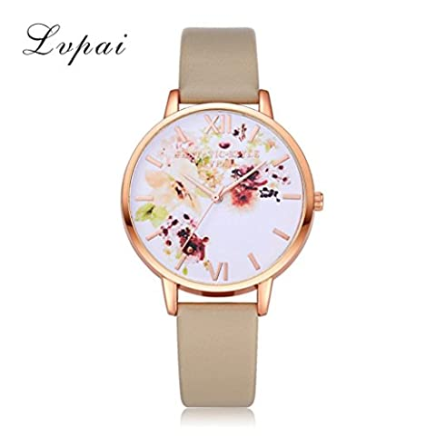 LHWY Women Fashion Leather Band Analog Quartz Round Wrist Watch Watches Red (Beige)