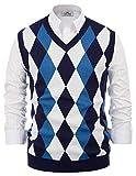 PaulJones Herren Slim Fit Argyle V-Neck Golf Sweater Weste Dunkelblau Größe XXL