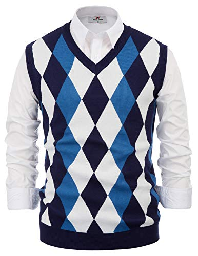 PaulJones Herren Slim Fit Argyle V-Neck Golf Sweater Weste Dunkelblau Größe XXL - Argyle Golf Shirt
