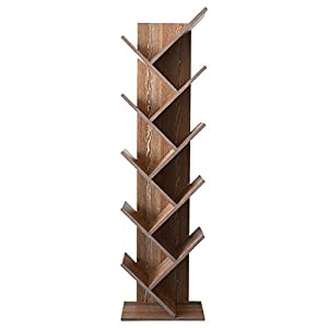 41Yl2i%2BwDVL. SS300  - Rebecca Mobili Bookcase Shelf 10 Shelves Wood MDF Dark Brown Contemporary Style Living Room Bedroom - 160 x 44,5 x 22 cm (H x W x D) - Art. RE4793