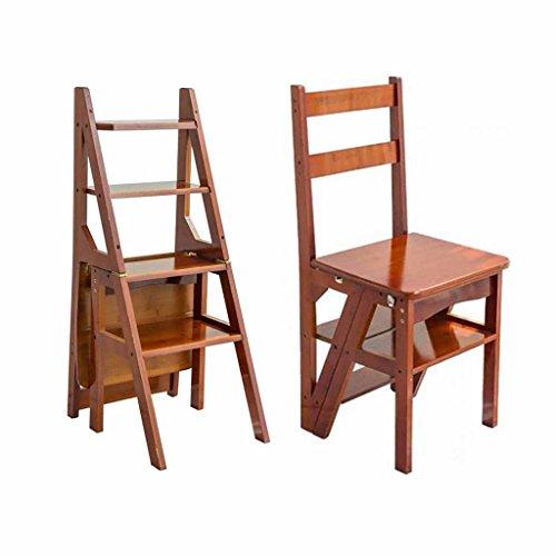 Sedia pieghevole step ladder sgabello in legno 4 battistrada sconto sedile arrampicata su banco alto scala famiglia multifunzione moving bamboo 150kg capacità (colore: noce)