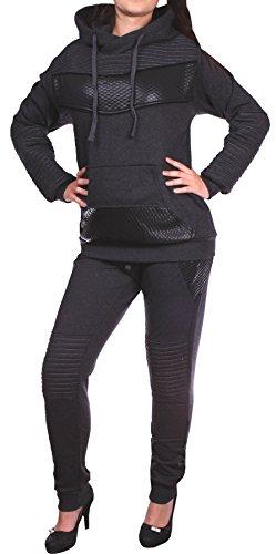 Damen Jogging-Anzug | Leder Anzug 610 (XXL-fällt groß aus, Anthrazit)