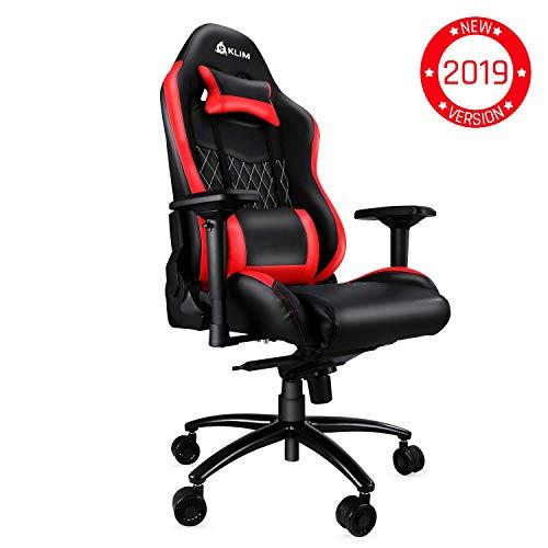 KLIM Esports - Qualitativ hochwertiger Gaming Stuhl - Neu - Präzise Verarbeitung - Einstellbar - Rote Polsterung [ Neue 2019 Version ]