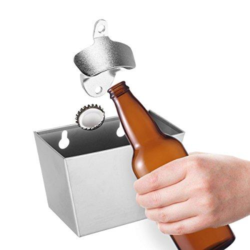 Jeteven Flaschenöffner & Kronkorkenauffangbehälter und Wand Flaschenöffner Flasche Öffner Bar Bier Küche Werkzeug