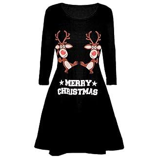 Luckycat Vestidos Corto Manga Larga de Otoño para Mujer Reno Vestido Corto Elegantes Negro Navidad Vestidos de Mujer Vestidos Mujer Jersey Fiesta Vestidos Fiesta Vestidos Navidad Vestidos Mujer Noche