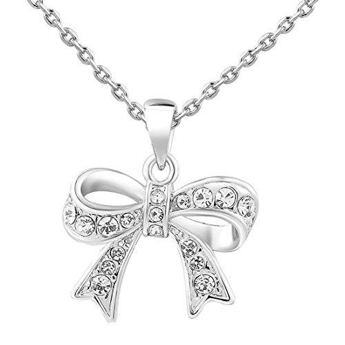 Las mujeres encanto Jewerly colgante chapado en platino bonita lazo cadena collar