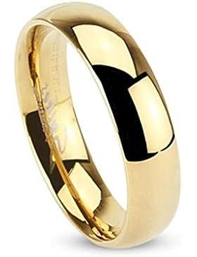Paula & Fritz® Ring aus Edelstahl Chirurgenstahl 316L vergoldet Klassischer Ehering hochglanz poliert 5mm Breite...