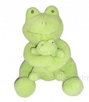 doudou-peluche-rana-verde-ca-credit-agricola-con-suo-bebe-30-cm